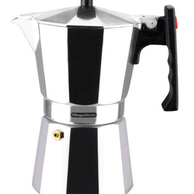 MAGEFESA Colombia – La cafetera MAGEFESA Colombia está Fabricada en Aluminio Extra Grueso. Pomo y Mangos ergonómicos de bakelita Toque Frio.