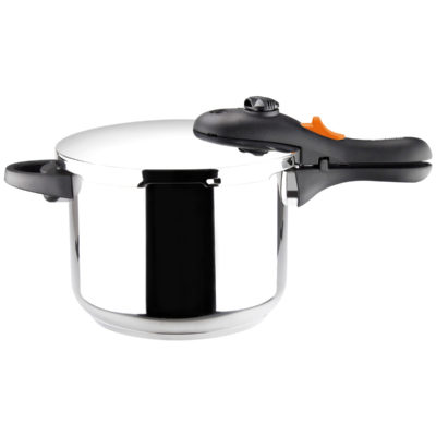 Olla a presión Súper Rápida MARMICOC COCCOTTE, fabricada en Acero inoxidable 18/10, apta para tipo de cocinas gas, vitroceramica, INDUCCIÓN y lavavajillas. Fondo Termo difusor de 5 capas 6L