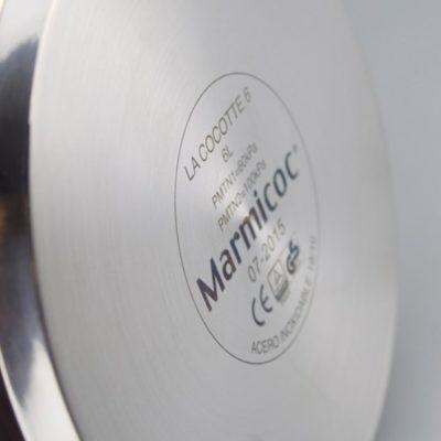 Olla a presión Súper Rápida MARMICOC COCOTTE, fabricada en Acero inoxidable 18/10, apta para tipo de cocinas gas, vitroceramica, INDUCCIÓN y lavavajillas. Fondo Termo difusor de 5 capas
