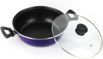 CACEROLA VITREX MARSEILLE. Sartén antiadherente doble capa, acero vitrificado, compatible con todo tipo de fuego, incluido inducción. Apta para lavavajillas. Mango ergonómico (TARTERA AZUL, 26_cm)