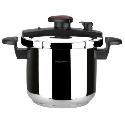 MAGEFESA ASTRA Olla a presión super rápida de fácil uso, acero inoxidable 18/10, apta para todo tipo de cocinas, inducción total.5 sistemas de seguridad, fondo termo difusor IMPACT BONDED BOTTOM. (6L)
