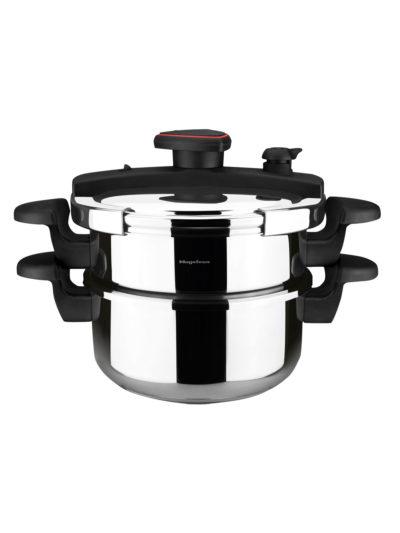 MAGEFESA ASTRA Olla a presión super rápida de fácil uso, acero inoxidable, apta para todo tipo de cocinas, inducción total.5 sistemas de seguridad, fondo termo difusor IMPACT BONDED BOTTOM. (4L + 6L)