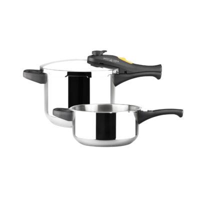 MAGEFESA Style Olla a presión Super rápida de fácil Uso, Acero Inoxidable 18/10, Apta para Todo Tipo de cocinas, Incluido inducción. (3L + 6L)