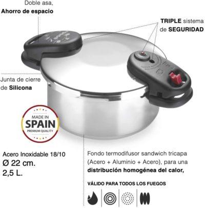 Olla a presión ALZA SPACE. Olla express de acero Inoxidable 18/10, apta para tipo de cocinas gas, vitroceramica, INDUCCIÓN y lavavajillas. Fondo Termo difusor, 3 sistemas de seguridad (2.5L)