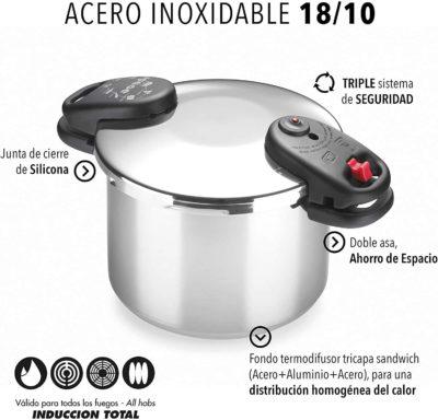 Olla a presión ALZA SPACE. Olla express de acero Inoxidable 18/10, apta para tipo de cocinas gas, vitroceramica, INDUCCIÓN y lavavajillas. Fondo Termo difusor, 3 sistemas de seguridad (6L)