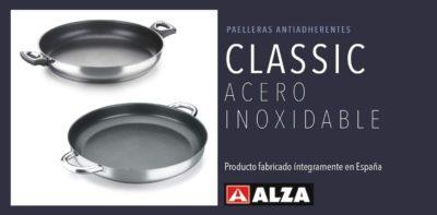 PAELLERA Alza Classic. PAELLERA Fabricada en Acero Inoxidable 18/10, Antiadherente Triple Capa, Apta para Todo Tipo de Cocina, INDUCCIÓN. Fácil Limpieza. Apto para lavavajillas.