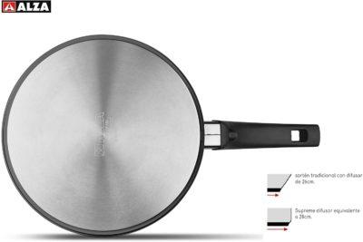 SARTÉN Alza Supreme. SARTÉN Fabricada en Acero Inoxidable, Antiadherente 4 Capas, Apta para Todo Tipo de Cocina, INDUCCIÓN. Fácil Limpieza. Apto para lavavajillas, diseño de Paredes Rectas