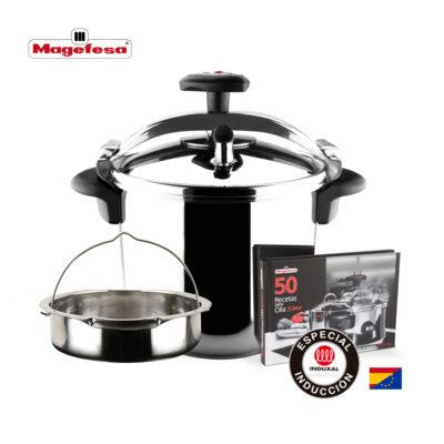 MAGEFESA STAR Olla a presión rápida. Pack exclusivo Olla+Cestillo+Libro de recetas. Fácil uso, acero inoxidable 18/10, apta para todo tipo de cocinas, incluido inducción, 3 sistemas de seguridad.