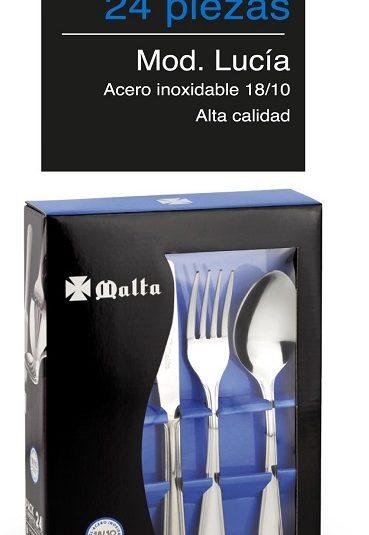 CRUZ DE MALTA cubertería Lucia Set de 24 Cubiertos Acero Inoxidable 18/10, Apto para lavavajillas