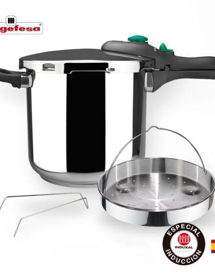 MAGEFESA Dynamic Olla a presión Super rápida de fácil Uso, Acero Inoxidable 18/10, Apta para Todo Tipo de cocinas, Incluido inducción. Pack Exclusivo Olla+Cestillo