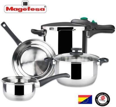 MAGEFESA – Batería de Cocina MAGEFESA Style 4 Piezas + Olla presión Dynamic 5L Fabricada en Acero Inoxidable. Fácil Limpieza y Apta lavavajillas. Asas de bakelita. Apta INDUCCIÓN