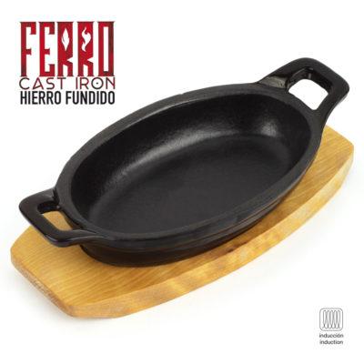 Fuente de Hierro Fundido Ferro by Sergi AROLA, óptima retención y Reparto del Calor, Especial para INDUCCIÓN, Apto para Horno, Ahorro de energía, fácil Limpieza