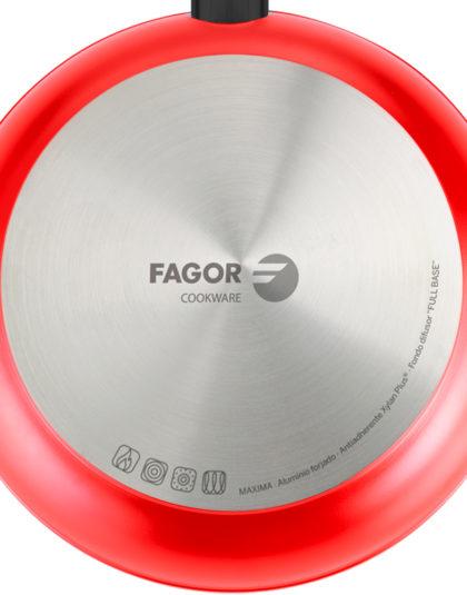 SARTEN FAGOR MAXIMA. Sartén antiadherente doble capa, aluminio forjado de 4mm espesor, compatible con toda clase cocina, inducción, fondo difusor de acero inoxidable. Apta lavavajillas