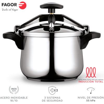 Fagor Clasica Olla a presión rápida, Acero Inoxidable 18/10, Apta para Todo Tipo de cocinas, INDUCCION Total. Fondo termodifusor IMPAKSTEEL máxima Resistencia, 3 Sistemas de Seguridad