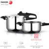 Fagor Duo Olla a presión Super rápida, Acero Inoxidable 18/10, Todo Tipo de cocinas, INDUCCION Total. Fondo termodifusor IMPAKSTEEL máxima Resistencia, 5 Sistemas Seguridad, 2 Niveles de presión