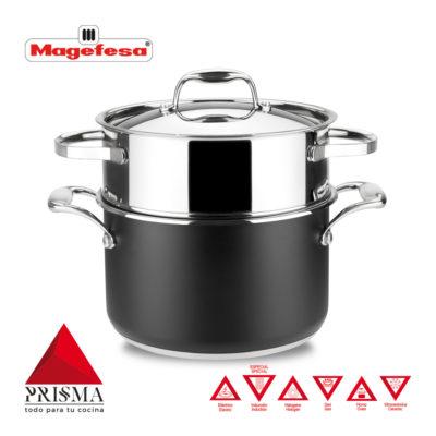 Cacerola Cocina al Vapor MAGEFESA Prisma. Cacerola Fabricada en Acero Inoxidable, Compatible con Todo Tipo Cocina, INDUCCIÓN. Fácil Limpieza. Apto para lavavajillas y Horno.