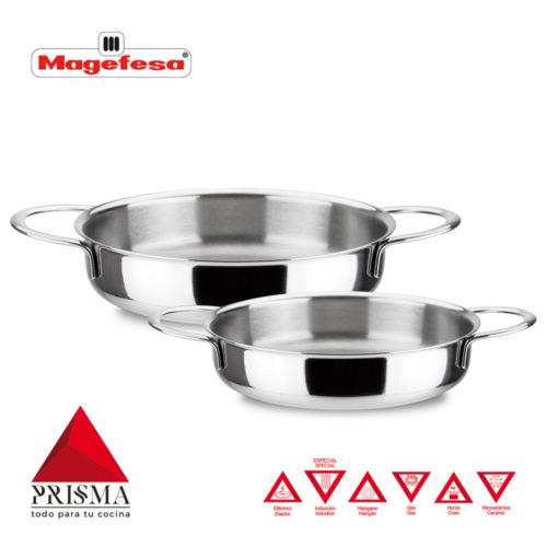 Mini TARTERAS MAGEFESA Prisma. TARTERAS Fabricadas en Acero Inoxidable 18/10, Compatible Todo Tipo de Cocina, INDUCCIÓN. Fácil Limpieza. Apto para lavavajillas y Horno.