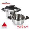 MAGEFESA Prisma Olla a presión Super rápida de fácil Uso, Acero Inoxidable 18/10, Apta para Todo Tipo de cocinas, Incluido inducción. (4L + 6L)