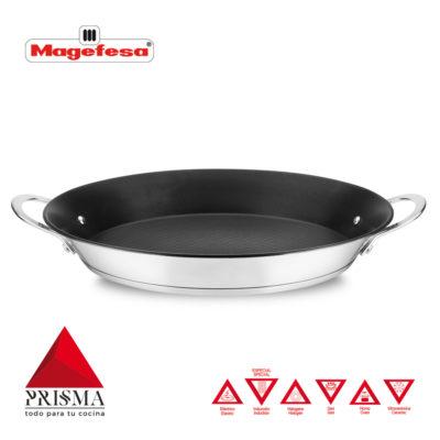 PAELLERA MAGEFESA Prisma. PAELLERA Fabricada en Acero Inoxidable, Antiadherente Triple Capa, Apta para Todo Tipo de Cocina, INDUCCIÓN. Fácil Limpieza. Apto para lavavajillas y Horno (PAELLERA, 34_cm)