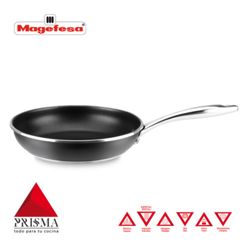 SARTÉN MAGEFESA PRISMA. Sartén fabricada en acero inoxidable 18/10, antiadherente triple capa, apta para todo tipo de cocina, INDUCCIÓN. Fácil Limpieza. Apto para lavavajillas y horno.