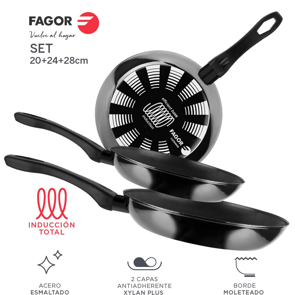 Sartén antiadherente doble capa, acero esmaltado FAGOR INDUTHERM 20 + 24 + 28