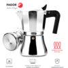 Fagor CUPY. La cafetera CUPY está Fabricada en Aluminio Extra Grueso. Pomo y Mangos Fabricados en Nylon Muy Resistente Toque Frio. Junta de Gran Durabilidad. Compatible con INDUCCIÓN.