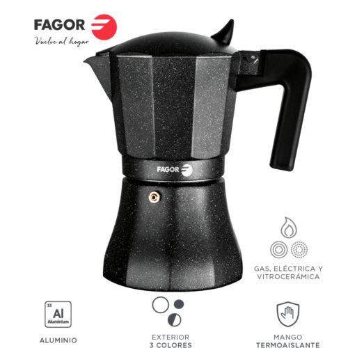 Fagor Tiramisu. La cafetera Tiramisu está Fabricada en Aluminio Extra Grueso. Pomo y Mangos ergonómicos Fabricados en Nylon Muy Resistente Toque Frio. Junta Silicona de Gran Durabilidad