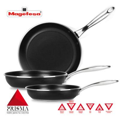 SARTENES MAGEFESA Prisma. Sartén Fabricada en Acero Inoxidable, Antiadherente Triple Capa, Apta para Todo Tipo de Cocina, INDUCCIÓN.