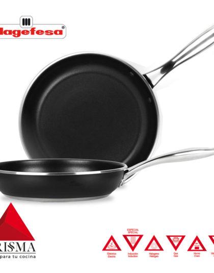 SARTÉN MAGEFESA PRISMA. Sartén fabricada en acero inoxidable 18/10, antiadherente triple capa, apta para todo tipo de cocina, INDUCCIÓN. Fácil Limpieza. Apto para lavavajillas y horno. (SARTEN, 20+24)