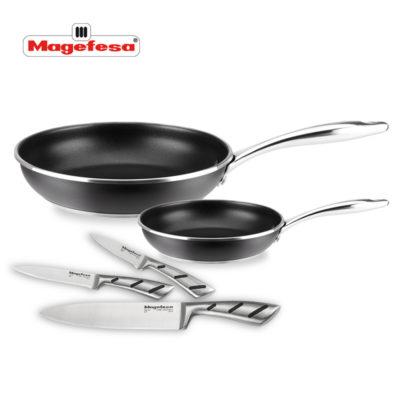 Set de SARTENES MAGEFESA Black Steel 2 sartenes + 3 cuchillos Piezas Fabricada en Acero Inoxidable, Antiadherente Triple Capa INDUCCIÓN.