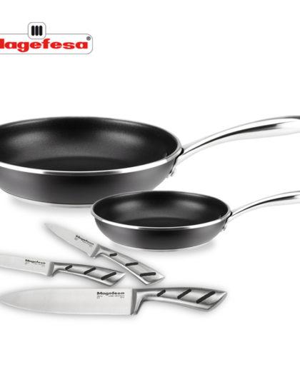 SARTÉN MAGEFESA BLACK STEEL Set 5 piezas. Sartén fabricada en acero inoxidable 18/10, antiadherente triple capa, apta INDUCCIÓN. Fácil Limpieza. Apto para lavavajilla.
