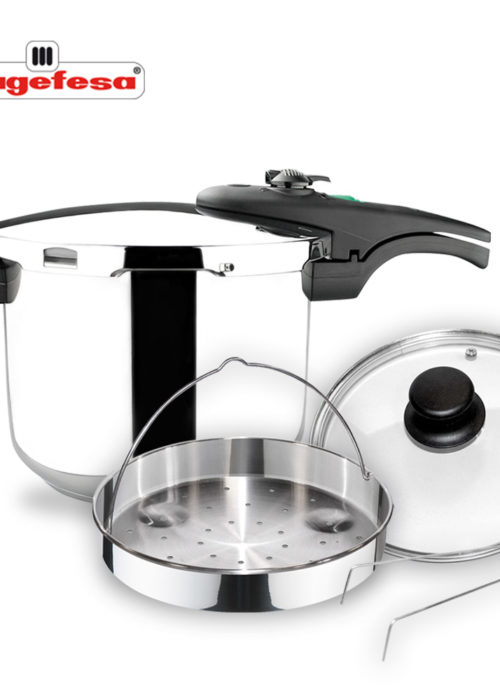 MAGEFESA ATHENAS COMPLET Olla a presión Super rápida de fácil Uso, Acero Inoxidable, Apta para cocinas inducción. Fondo Termo difusor, Pack Exclusivo Olla + CESTILLO + Tapa DE Cristal