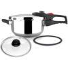 MAGEFESA PRACTIKA Plus COMPLET Olla a presión Super rápida de fácil Uso, Acero Inoxidable, Apta para cocinas inducción, pack Exclusivo.
