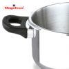 MAGEFESA PRACTIKA Plus COMPLET Olla a presión Super rápida de fácil Uso, Acero Inoxidable, Apta para cocinas inducción. Fondo Termo difusor, Pack Exclusivo Olla + CESTILLO + Tapa DE Cristal