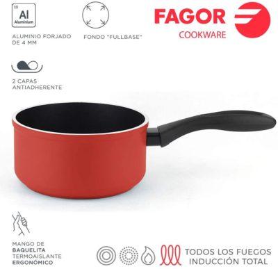 CAZO FAGOR MÁXIMA. Cazo antiadherente doble capa XYLAN PLUS, acero inoxidable magnético, compatible con todo tipo de cocinas, INDUCCIÓN. Apta para lavavajillas. Mango de baquelita (CAZO ROJO, 16 cm)