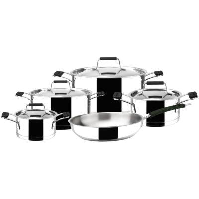 BATERÍA MAGEFESA PREMIER BLACK, 9 piezas kit de cacerolas + sartén + tapas, Acero inoxidable, Apto para todo tipo de cocinas, INDUCCIÓN. tipo de cocinas gas, vitroceramica, INDUCCIÓN. Apto para lavavajillas.