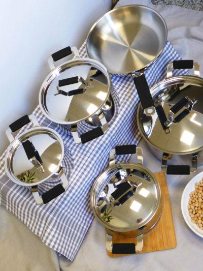 MAGEFESA PREMIER BLACK, 9 piezas kit de cacerolas + sartén + tapas, Acero inoxidable, Apto para todo tipo de cocinas gas, vitroceramica, INDUCCIÓN. Apto para lavavajillas.