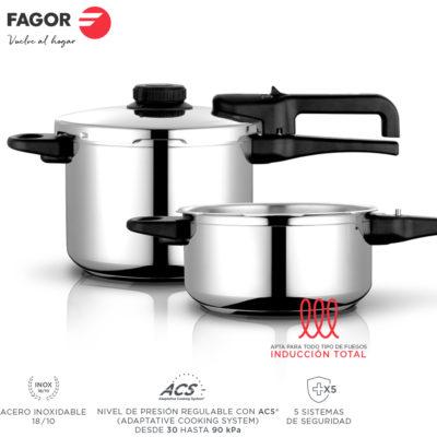 Olla a presión FAGOR DUAL XPRESS. Olla express acero Inoxidable y aluminio, apta para todas las cocinas gas, vitroceramica, INDUCCIÓN y lavavajillas. Fondo Termodifusor (4 + 6L)