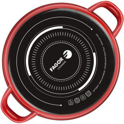 Fagor Olla OPTIMAX. Olla Antiadherente Doble Capa, Acero esmaltado de 1,5mm de Espesor, Compatible con Toda Clase Cocina, inducción, cerquillo de Acero Inoxidable. Apta lavavajillas