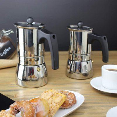 MAGEFESA Genova – La cafetera MAGEFESA Genova está Fabricada en Acero Inoxidable 18/10, Compatible con Todo Tipo de Cocina. Fácil Limpieza (Cromado, 6 Tazas + 6 CUCHARILLAS)
