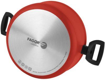 BATERIA FAGOR MÁXIMA. BATERIA antiadherente XYLAN PLUS de doble capa, compatible con todo tipo de fuego, incluido INDUCCIÓN. Apta para lavavajillas (BATERIA ROJA, 8 PIEZAS)