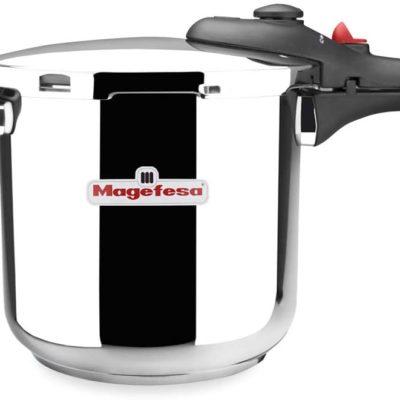 MAGEFESA DB Olla a presión super rápida de fácil uso, acero inoxidable 18/10, apta para todo tipo de cocinas, incluido inducción. Acero inoxidable, fondo termo difusor encapsulado de 5 capas. 6L