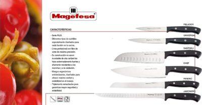 Cuchillo MAGEFESA Filo Acero Inoxidable, Línea Profesional con Filo de Corte de máxima precisión, Mango ergonómico, fácil Limpieza, Triplemente remachados (Pack 6 Cuchillos)