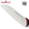 Cuchillos de cocina MAGEFESA ALVARO BARRIENTOS, Set 3 cuchillos PELADOR, SANTOKU, CHEF, Acero inoxidable de alta calidad, con mangos antideslizantes de fácil manejo.