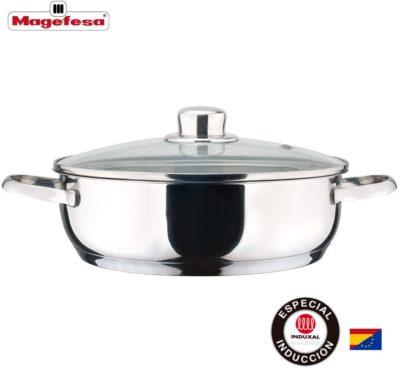 MAGEFESA Dux – La Familia de Productos MAGEFESA Dux está Fabricada en Acero Inoxidable 18/10, Compatible con Todo Tipo de Fuego. Fácil Limpieza y Apta lavavajillas. (TARTERA, 24_cm)