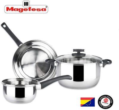 Batería de Cocina MAGEFESA Style 4 Piezas Fabricada en Acero Inoxidable. Fácil Limpieza y Apta lavavajillas. Asas de bakelita. Apta INDUCCIÓN.