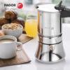 Cafetera FAGOR ETNICA Está fabricada en acero inoxidable de gran resistencia, Mangos fabricados en Nylon muy resistente y toque Frio. Junta de Silicona de Gran Durabilidad (4,6,10 Tazas)