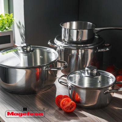 MAGEFESA DUX – Batería de cocina MAGEFESA DUX 7 piezas está Fabricada en Acero Inoxidable 18/10, Compatible con Todo Tipo de Fuego. Fácil Limpieza y Apta lavavajillas.