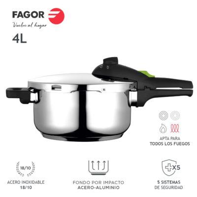 Olla a presión FAGOR RAPID XPRESS Súper rápida, Acero Inoxidable, Todo Tipo de cocinas, INDUCCION Fondo termo difusor IMPAKSTEEL Muy Resistente, 5 Sistemas de Seguridad, 2 Niveles de presión (4L)