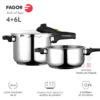 Olla a presión FAGOR RAPID XPRESS Súper rápida, Acero Inoxidable, Todo Tipo de cocinas, INDUCCION Fondo termo difusor IMPAKSTEEL Muy Resistente, 5 Sistemas de Seguridad, 2 Niveles de presión (4+6L)